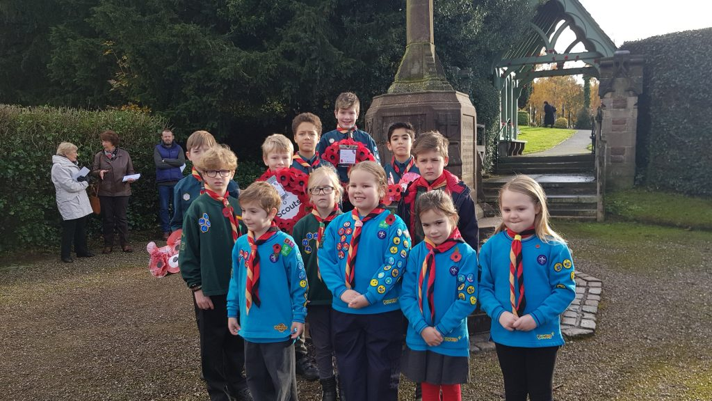 Beavers, Cubs and Scouts in front of Keele war memorial
