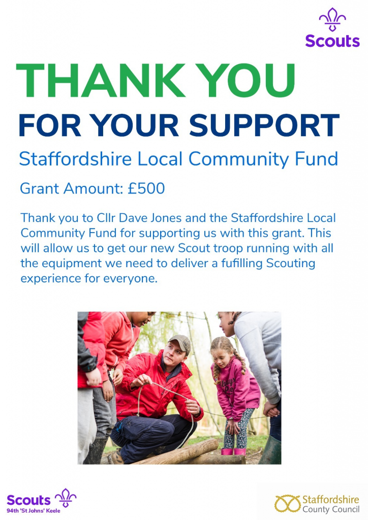 Donation from Staffordshire Local Community Fund